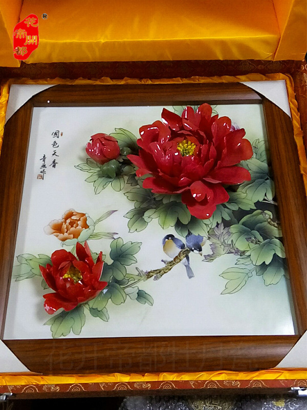 精品牡丹瓷壁画